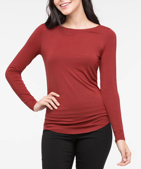 Boatneck Essential Layering Top, Rust, hi-res
