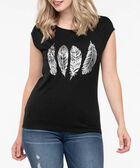 Feather Graphic Scoop Neck Tee, Black/Silver, hi-res