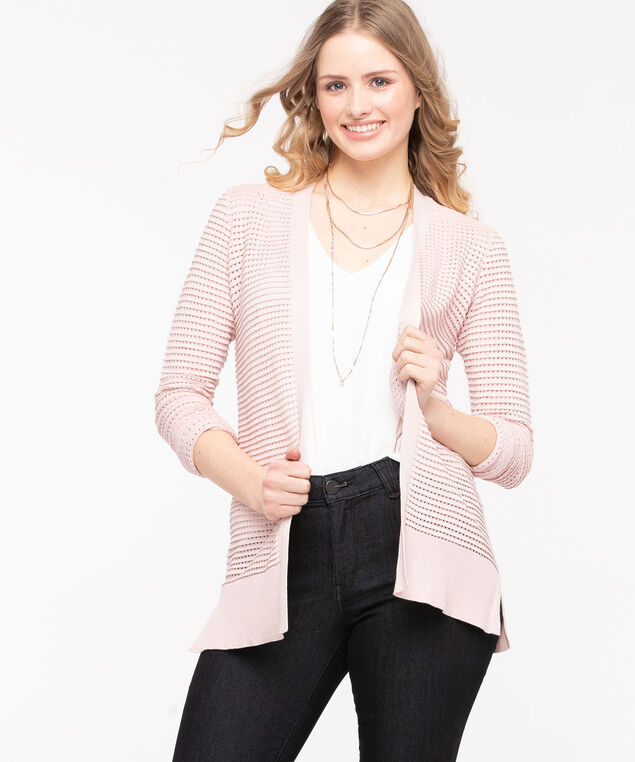 Pointelle Open Cardigan, Rose Petal, hi-res