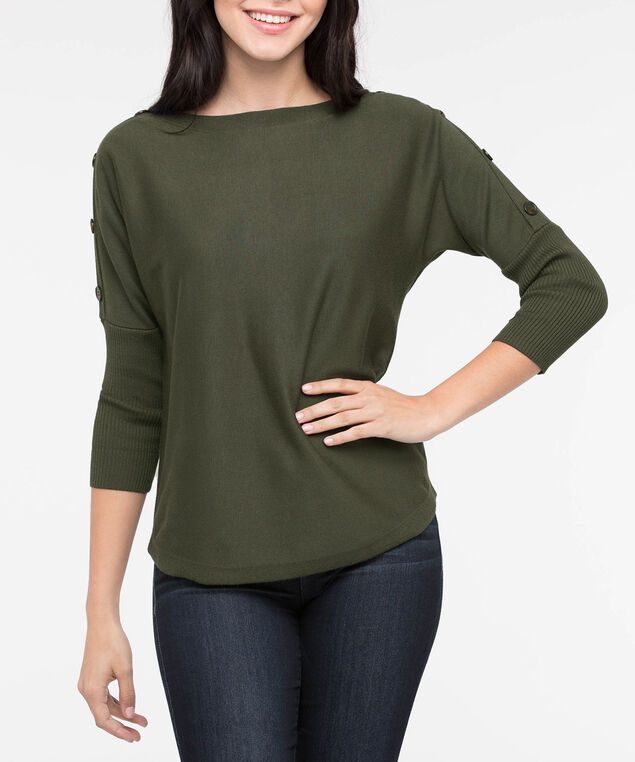 Button Detail Boatneck Sweater, Autumn Olive, hi-res