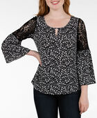 Lace Shoulder Keyhole Peasant Top, Black/Pearl/Grey, hi-res