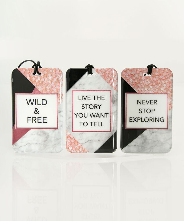 Luggage Tag Set, Black/Coral/White, hi-res