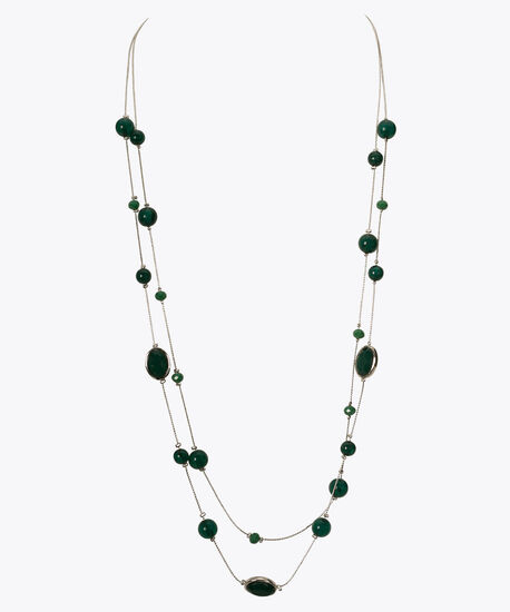 Double-Row Stationed Bead Necklace, Emerald/Rhodium, hi-res