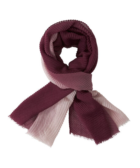 Ombre Pleated Oblong Scarf, Black Cherry/Pink, hi-res