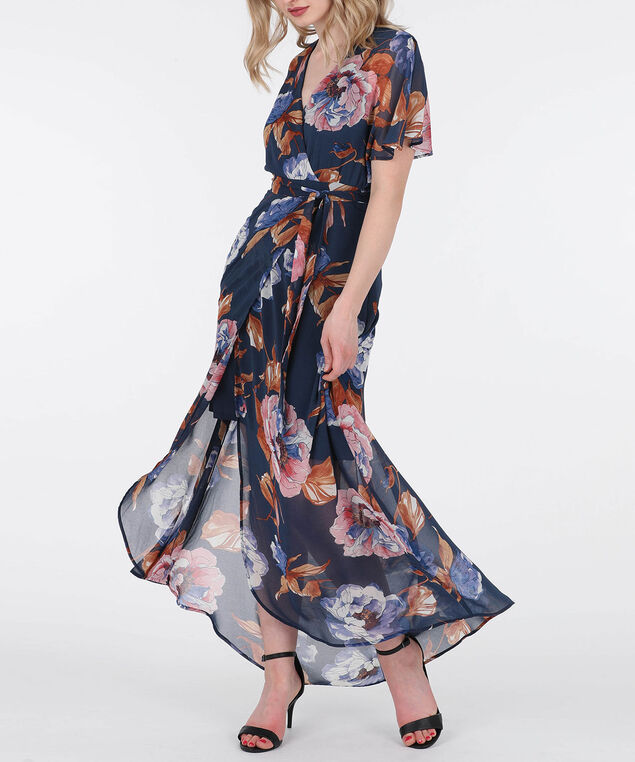 Crossover Floral Print Dress, Summer Navy/Petal Pink/Cognac, hi-res