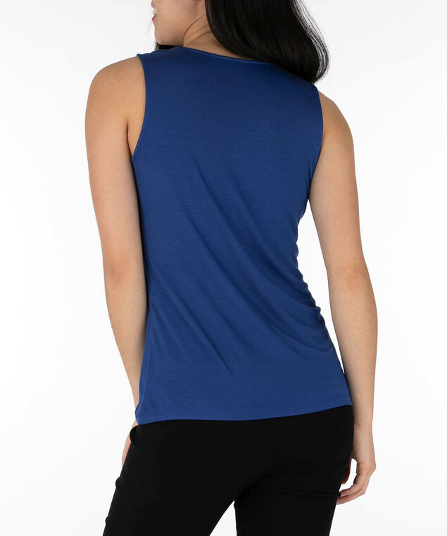 Sleeveless Tab Front Top, Cadet Blue, hi-res