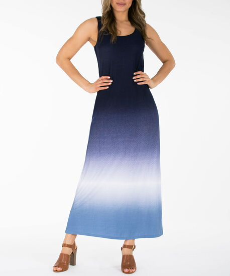 Tie-Dye Cross Back Maxi Dress, Blue/White, hi-res