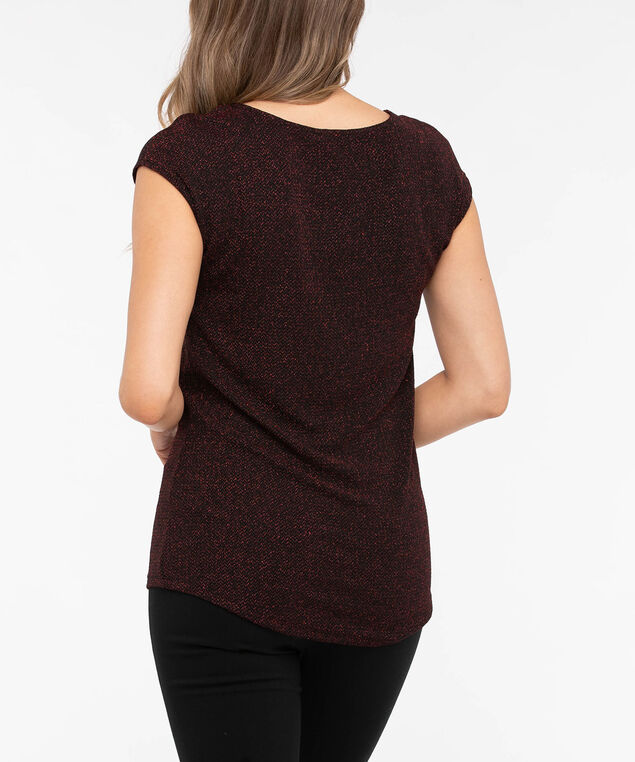 Extended Sleeve Scoop Neck Shimmer Top, Crimson, hi-res