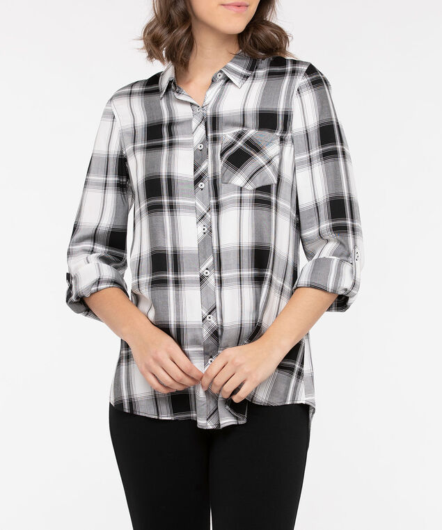 Plaid Button Front Collared Shirt, Black/Pearl, hi-res