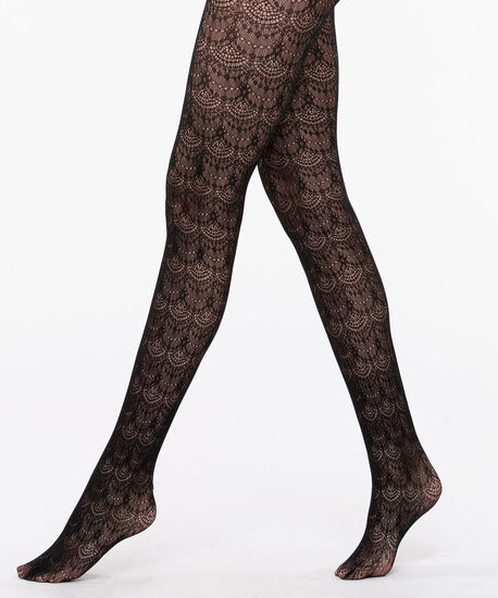 Fishnet Scallop Pattern Tights, Black, hi-res