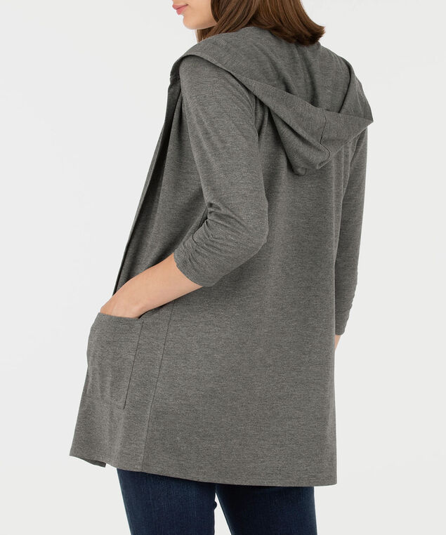 Hooded Open Cardigan, Mid Heather Grey, hi-res