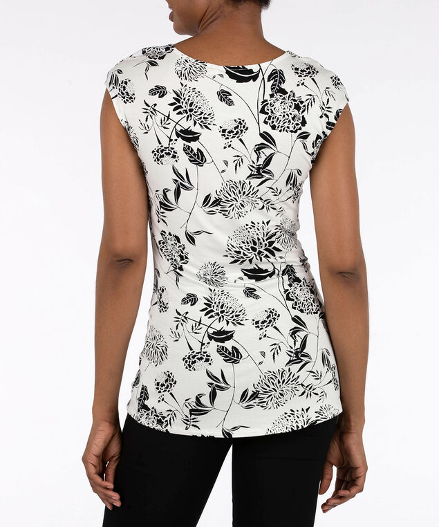 Botanical Print Extended Sleeve Top, Pearl/Black, hi-res