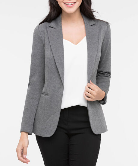 Long Sleeve Boyfriend Blazer, Mid Heather Grey, hi-res