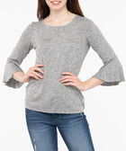Flounce Sleeve Scoop Neck Top, Light Heather Grey, hi-res