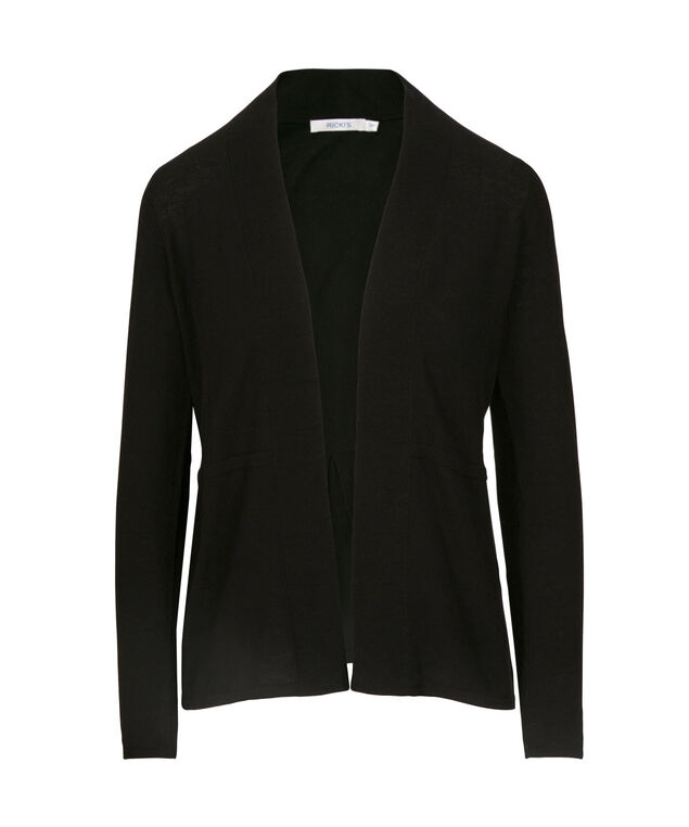 Pleat Back Open Cardigan, Black, hi-res