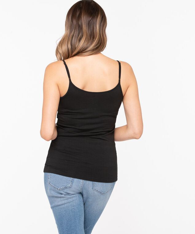 Strappy Scoop Neck Cami, Black