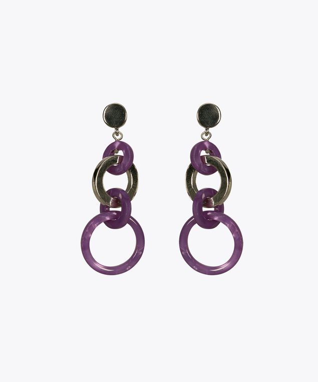 Intertwined Drop Hoop Earring, Iced Violet/Rhodium, hi-res