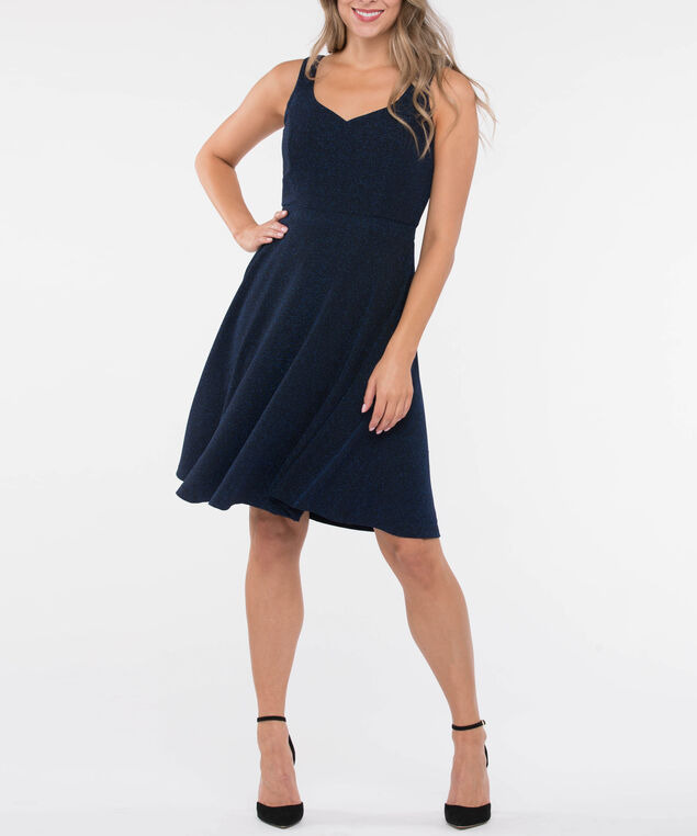Glittery Sweetheart Neck Fit & Flare Dress, Deep Sapphire, hi-res