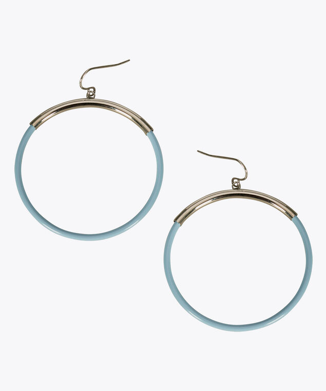 Painted Drop Hoop Earring, Pastel Blue/Rhodium, hi-res