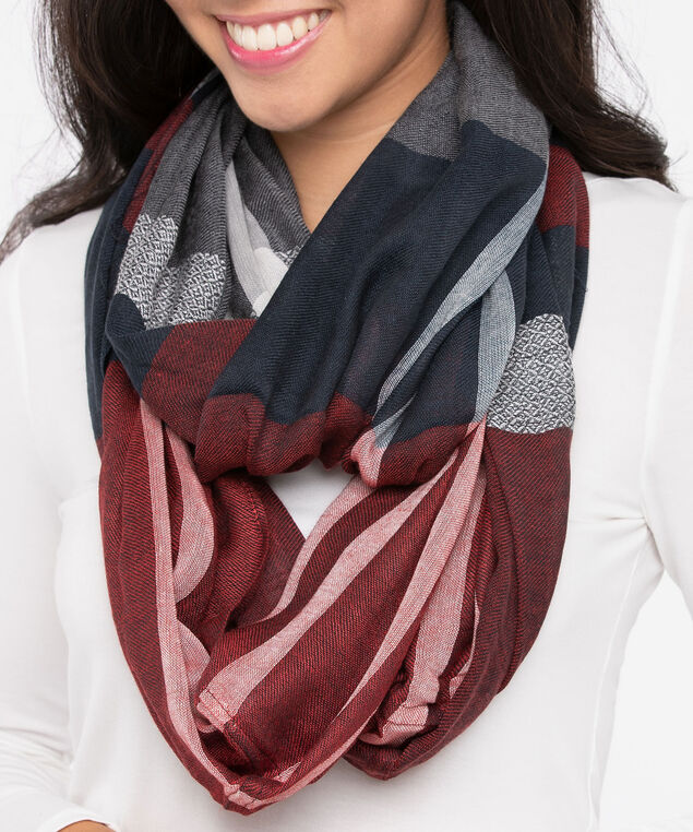 Large Plaid Eternity Scarf, Deep Sapphire/Burgundy/Pearl, hi-res