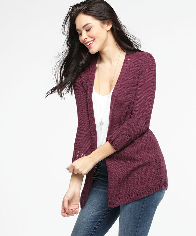 Roll Sleeve Pointelle Open Cardigan, Fig, hi-res