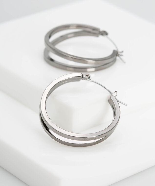 Split Metal Hoop Earring, Hematite, hi-res