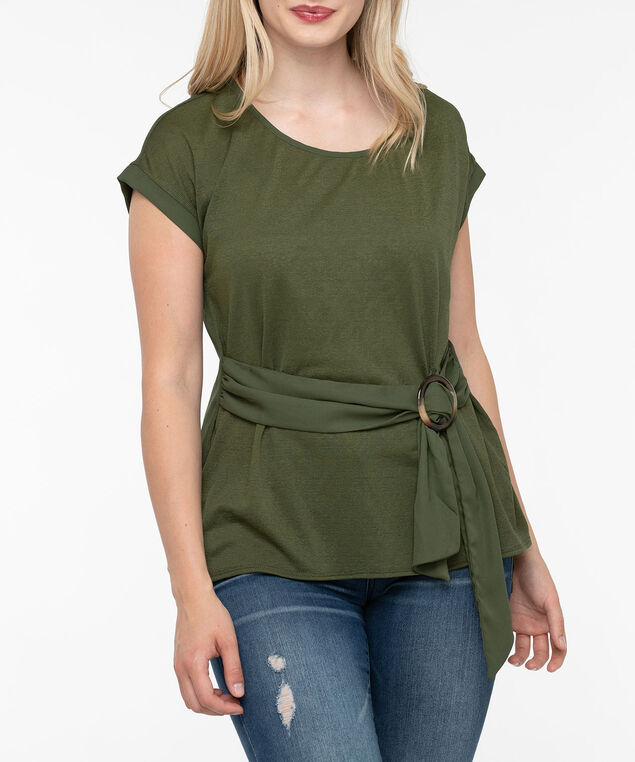 Scoop Neck Tie Waist Blouse, Autumn Olive, hi-res