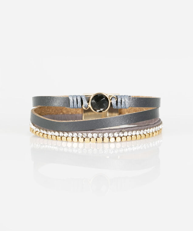 Crystal & Faux Leather Wrap Bracelet, Gold/Mid Heathered Grey, hi-res