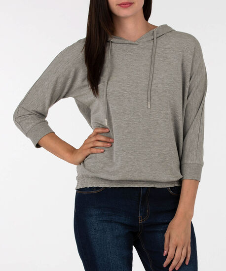 Smocked Bottom Pullover Hoodie, Charcoal, hi-res