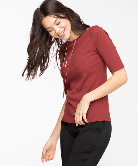 Ribbed Elbow Sleeve Top, Windsor Wine, hi-res