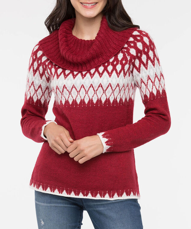 Fair Isle Cowl Neck Roll Hem Sweater, Crimson/Pearl/Light Grey, hi-res