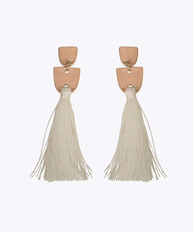 Geometric Metal & Tassel Earring, Rose Gold/True White, hi-res