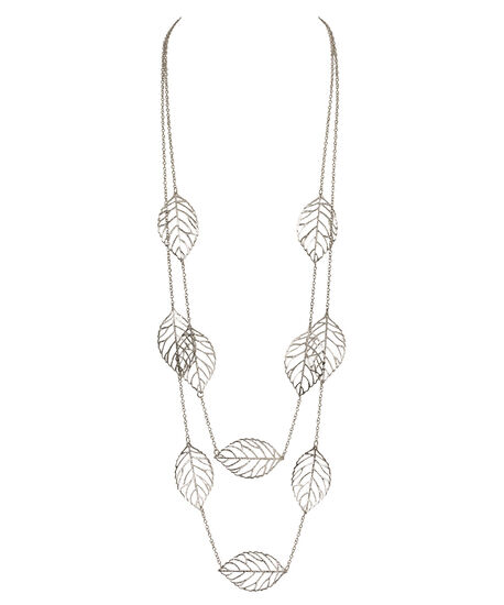 Double Strand Falling Leaf Necklace, Rhodium, hi-res