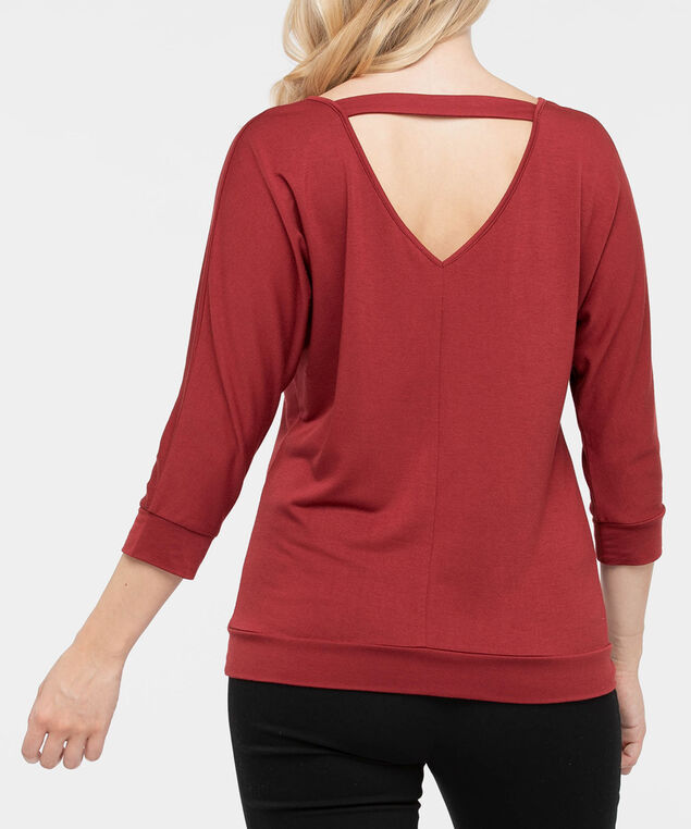Double-V Cutout Back Knit Top, Rust, hi-res