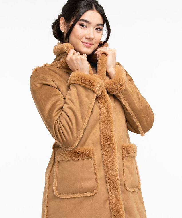 Mid Length Faux Shearling Coat, Tobacco Brown