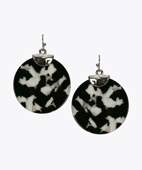 Resin Disc Drop Earring, Black/True White, hi-res