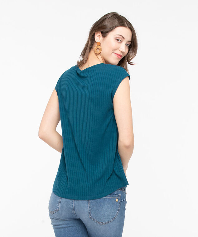 Scoop Neck Textured Stripe Top, Midnight Teal, hi-res