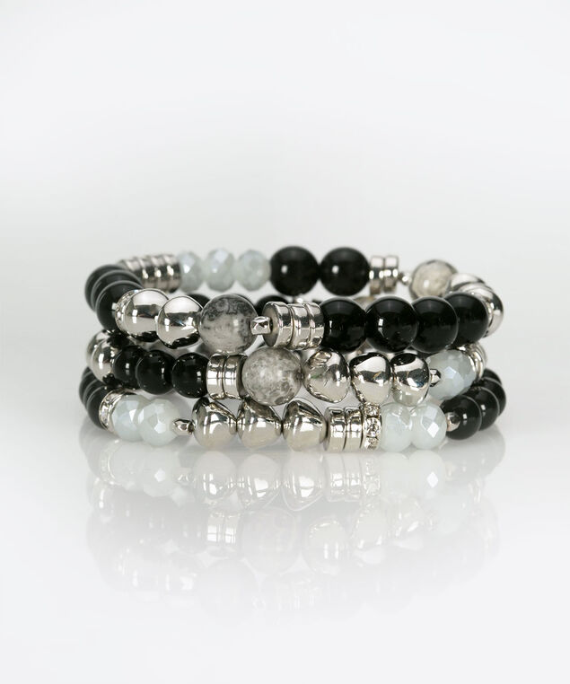 Stacked Stone & Bead Bracelet, Rhodium/Black/Light Heathered Grey, hi-res