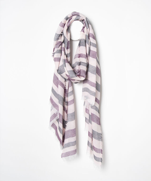 Striped Oblong Scarf, Dusty Blush/Black/Berry, hi-res