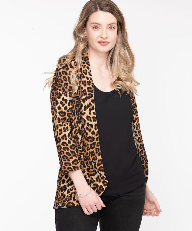 Leopard Print Open Front Jacket, Brown/Black/Camel
