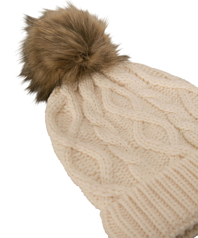 Chunky Cable Knit Toque, Milkshake/Brown, hi-res