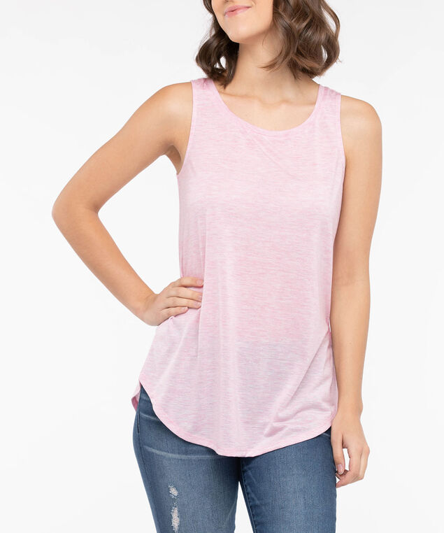 Scoop Neck Lurex Tank Top, Dusty Blush, hi-res