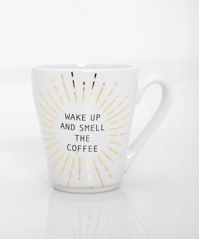 Wake Up & Smell The Coffee Mug, Pearl/Gold, hi-res