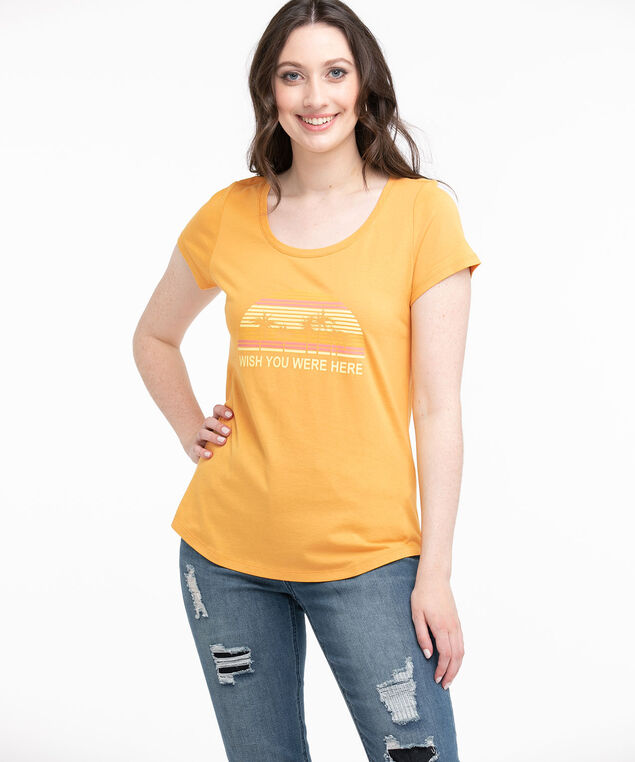 Scoop Neck Shirttail Graphic Tee, Yellow/Wish You Were Here