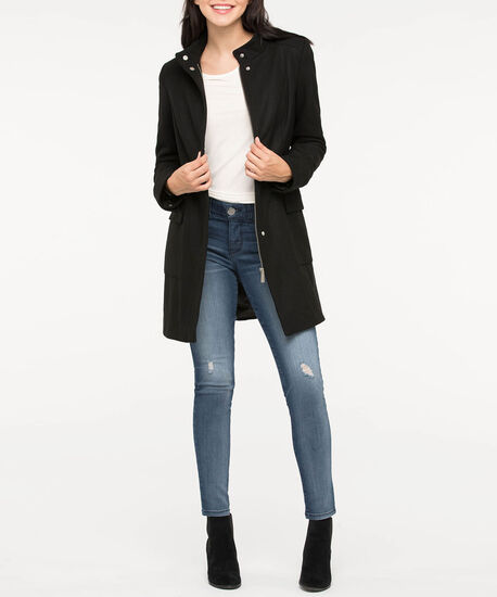 Funnel Neck Wool Blend Coat, Black, hi-res
