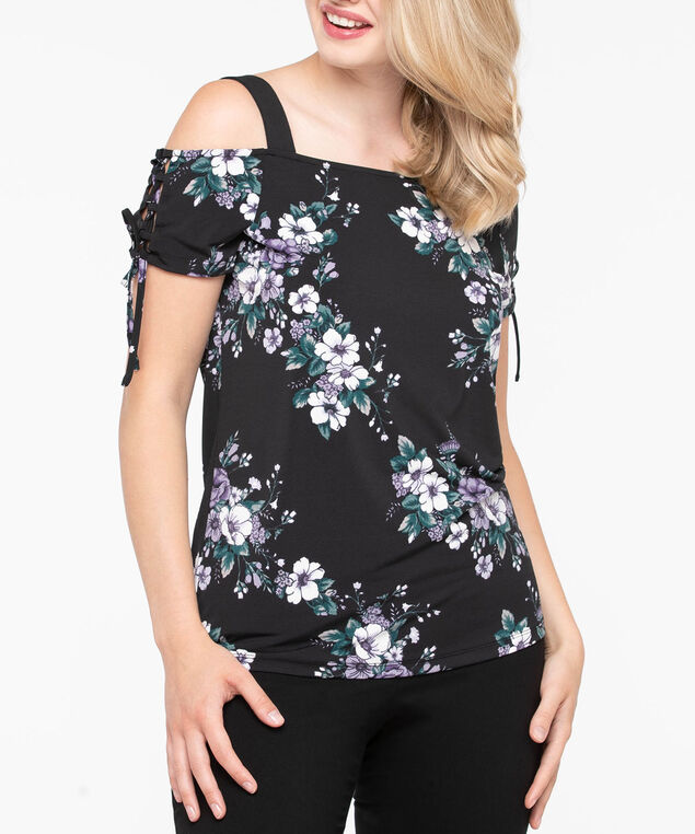 Lace Up Sleeve Cold Shoulder Top, Black, hi-res