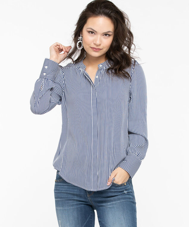 Collarless Spliced Back Detail Blouse, Summer Navy/Pearl, hi-res