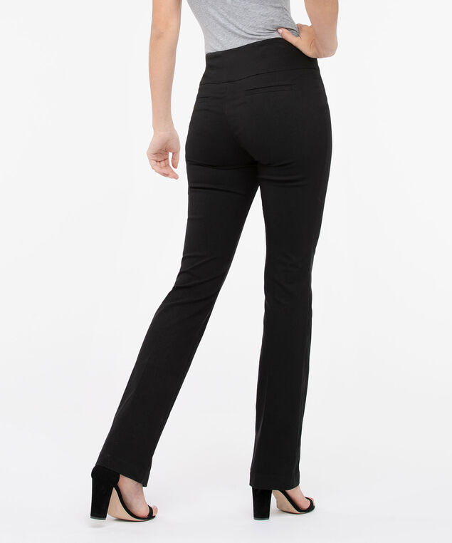 Microtwill Pull On Bootcut Leg, Black, hi-res