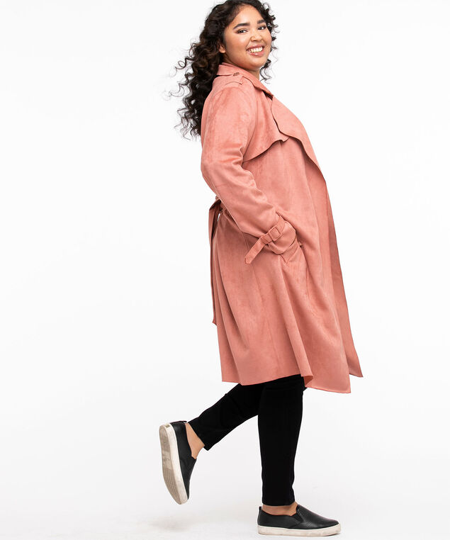 Vegan Suede Wrap Coat, Withered Rose