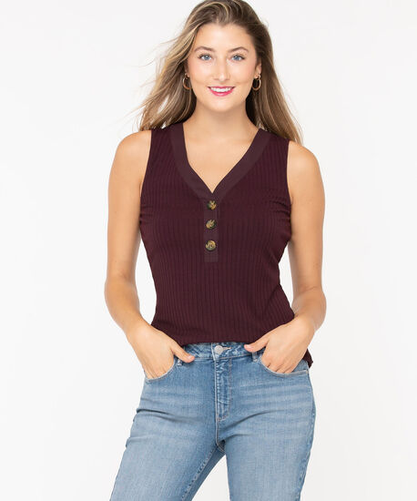 Sleeveless Ribbed Henley Top, Eggplant, hi-res